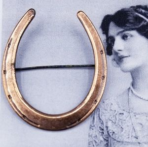 Vintage Copper Horseshoe Brooch